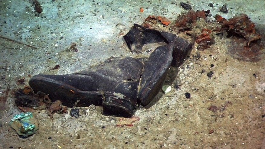 FILE: A pair of shoes may show where a victim of the Titanic disaster came to rest.