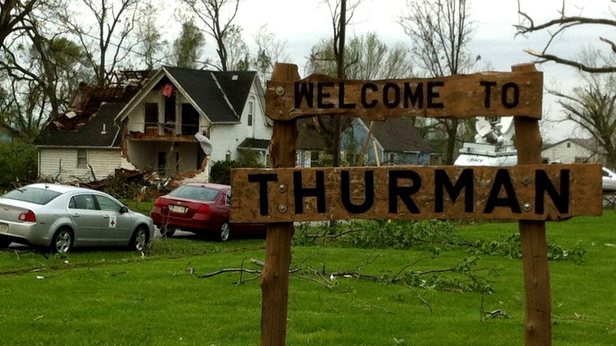 April 15, 2012: An entrance sign to the town of Thurman, Iowa. County Emergency Management Director Mike Crecelius told the Associated Press that about 75 percent of the 250-person town was destroyed by severe weather Saturday night.