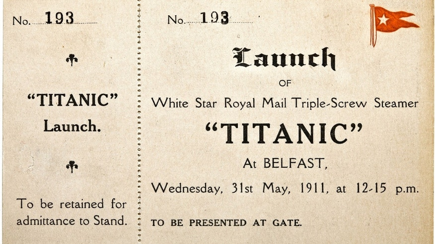In this Jan. 31, 2012 photo provided by Bonhams auction house, a ticket to the May 31, 1911 launch of the R.M.S. Titanic is shown.