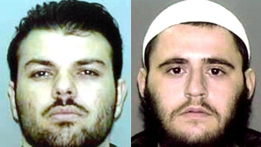 These undated photos provided by the U.S. Attorney's Office in Brooklyn, New York, show Zarein Ahmedzay, left, and Adis Medunjanin.