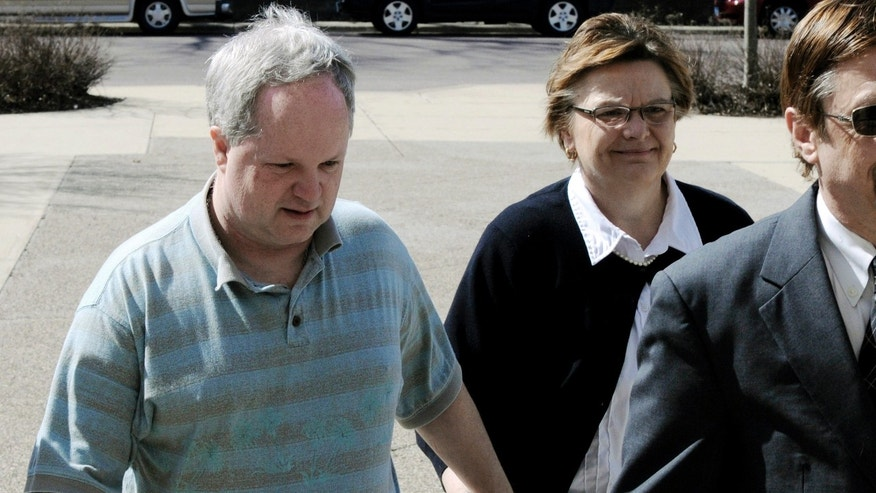 May 4, 2011:  William Melchert-Dinkel arrives at the Rice County Courthouse in Faribault, Minn., with his wife, Joyce, for his sentencing.