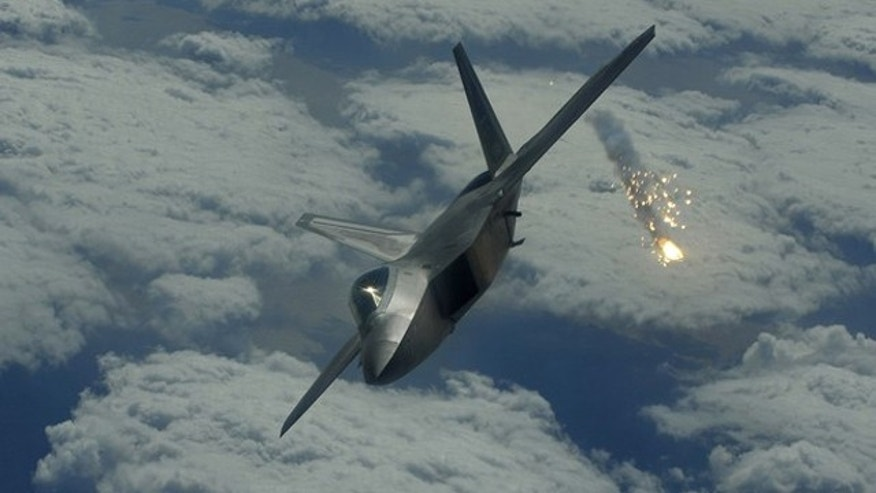 The Lockheed Martin F-22 Raptor is a single-seat, twin-engine fighter equipped with stealth technology.