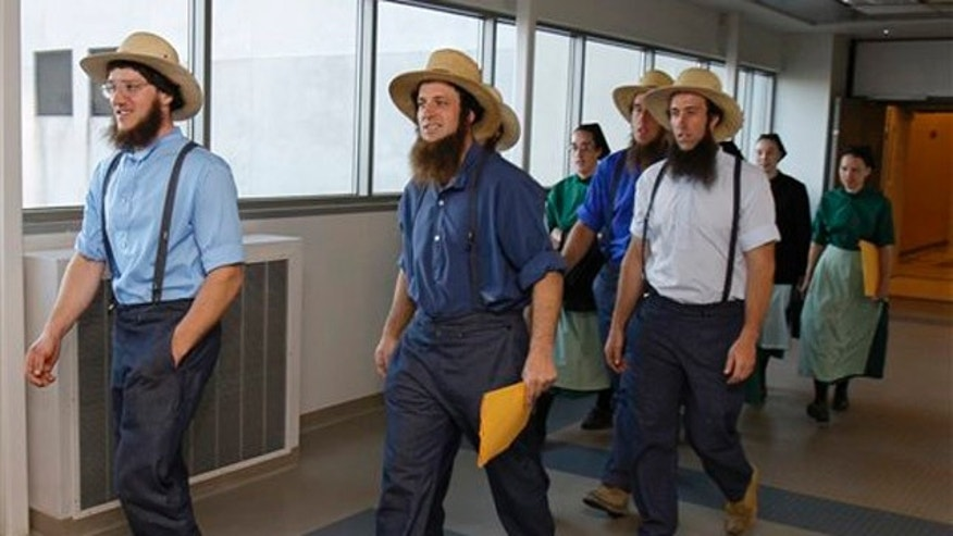 April 19, 2012: Members of the Amish community leave the U.S. Federal Courthouse in Cleveland.