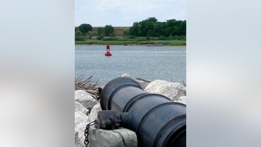 May 4, 2012: This photo shows a buoy from Old Fort Jackson marking the shipwreck of the CSS Georgia, a Confederate warship that sank in the Savannah River nearly 148 years ago, in Savannah, Ga.