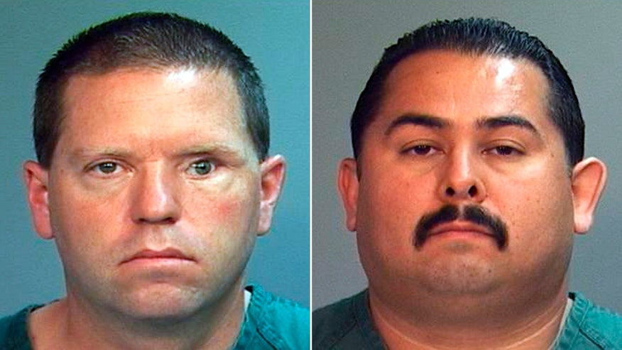 This combo made from file photos provided by the Orange County District Attorney's office shows Fullerton Police Officers Jay Cicinelli, left, and Manuel Ramos. A judge on May 7, 2012 will weigh whether theres enough evidence to try the two officers, who are charged with one count each of second-degree murder and involuntary manslaughter in the death of 37-year-old Kelly Thomas after a violent confrontation with officers on July 5.