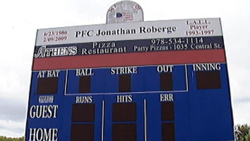 This photo, obtained by Fox affiliate WFXT-TV, shows the scoreboard at the center of the dispute.