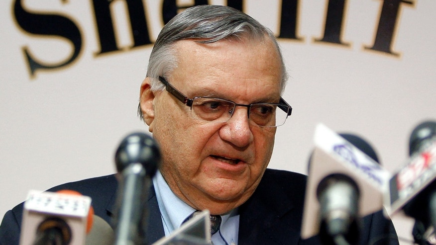 FILE: January 2012:: Maricopa County Sheriff Joe Arpaio conducts a news conference in Phoenix.