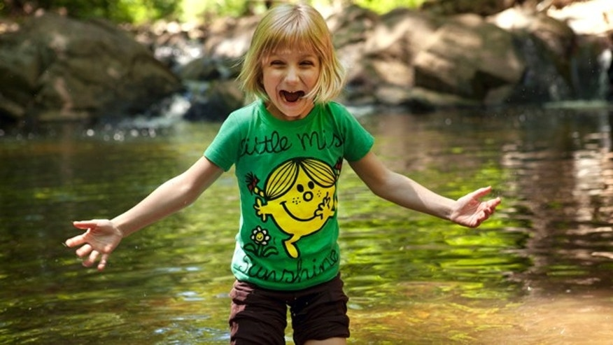 May 11, 2012: Lori Anne Madison, 6, of Lake Ridge, Va., reacts to the cold water while playing with friends in a park in McLean, Va.