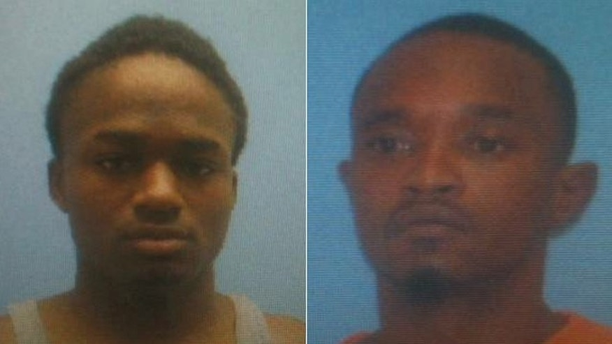 Cortez Rashod Hooper, left, and Quincy Vernard Stewart used a hacksaw to cut the metal bars out of a small window inside their cell, Miller County Sheriff's officials said.