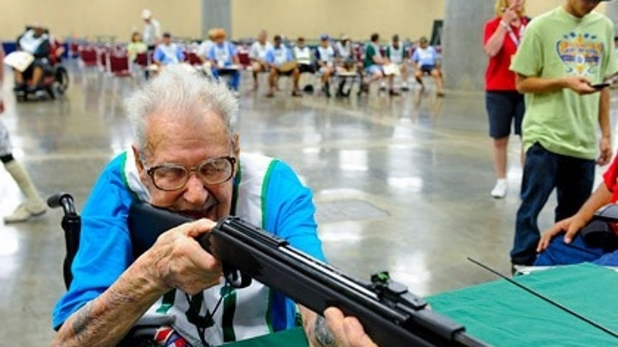 Jack Faust, of Hayward, Calif., will be among nearly 900 competitors in the 26th National Veterans Golden Age Games, a sports and recreation competition sponsored by the Department of Veterans Affairs for former soldiers age 55 and older. He's believed to be the only centenarian competitor in the event's history. (VA.gov)