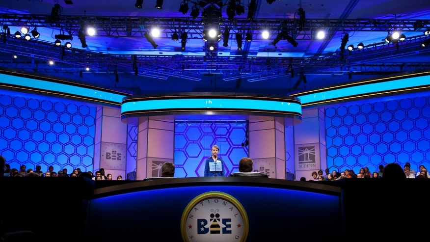 May 30, 2012: Emma Steimle of Lawrence, Kansas spells her word during the third round of the National Spelling Bee in Oxon Hill, Md.
