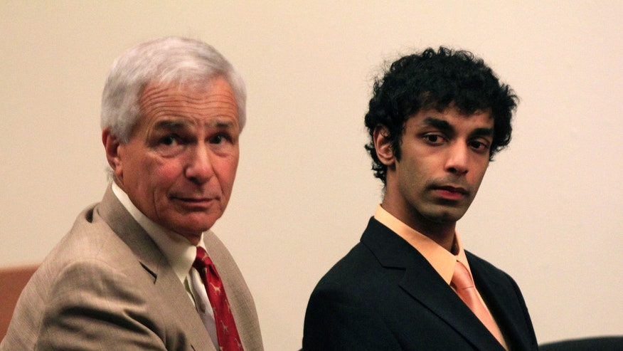 May 30: Dharun Ravi, right, sits with his attorney Joseph Benedict during a hearing in New Brunswick, N.J.