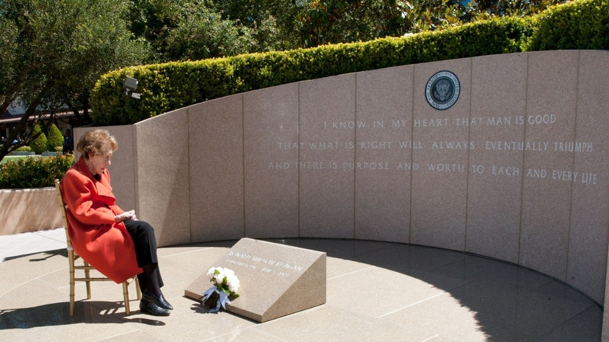 June 5, 2012: Nancy Reagan observes the eighth anniversary of the passing of her husband after laying  flowers at his gravesite at the Ronald Reagan Presidential Library in Simi Valley, Calif.