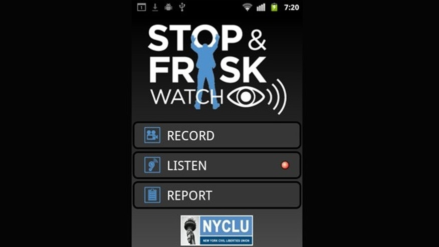 "The main screen for the NYCLU's ""Stop and Frisk Watch"" smartphone app."