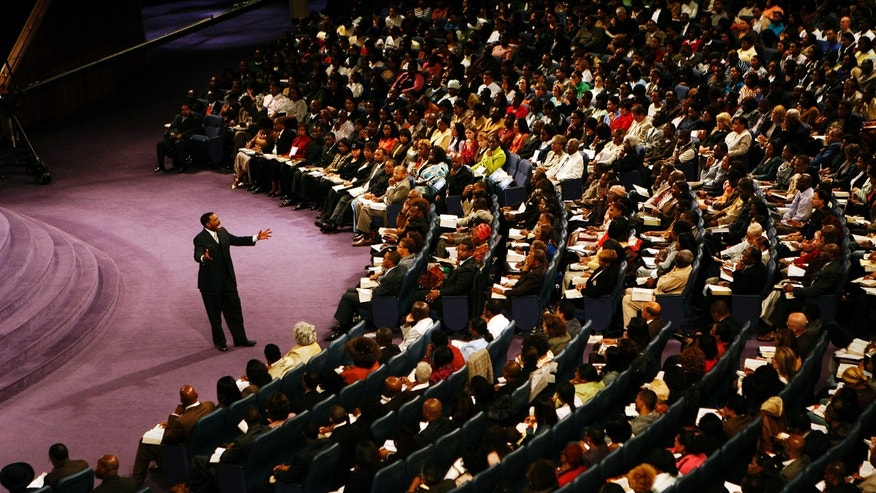 Nov. 11, 2007: In this photo, Rev. Creflo Dollar delivers his second sermon of the day at World Changers Church International, in College Park, Ga.