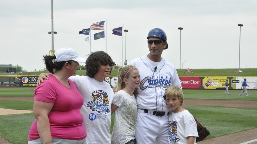 Rik Zortman surprised his family when he emerged from behind the plate in an Omaha Storm Chasers' uniform. (Omaha Storm Chasers)