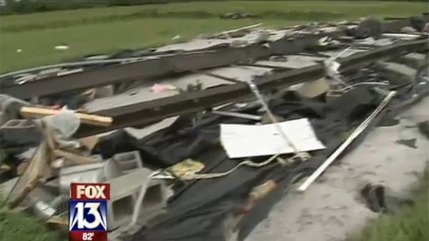 June 25, 2012: Only the frame remains of Heather Town's mobile home after it was hit by a tornado.
