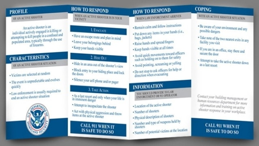 "A pocket card handed out to Homeland Security employees in April detailing how they should handle an ""active shooter"" situation."