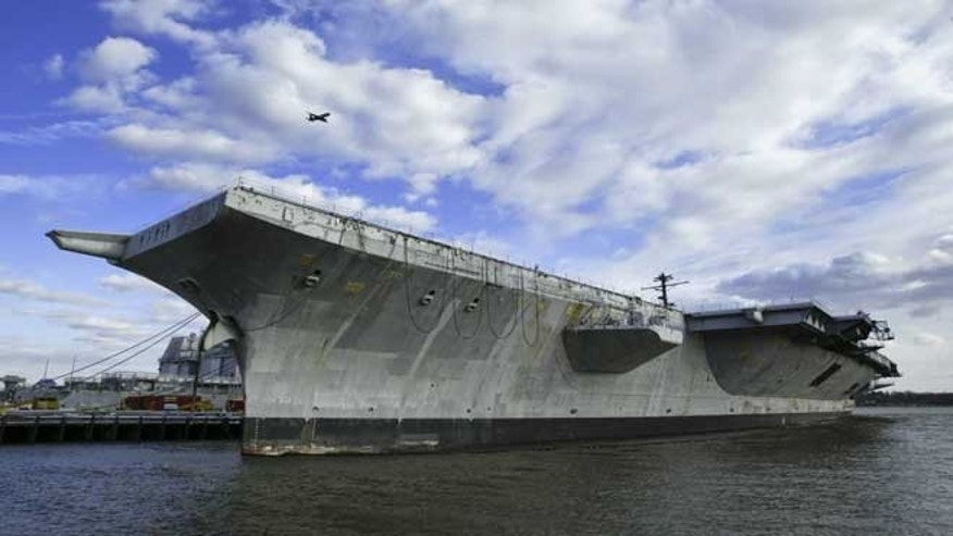 In this March 2, 2005 file photo, the aircraft carrier USS America is shown in Philadelphia.