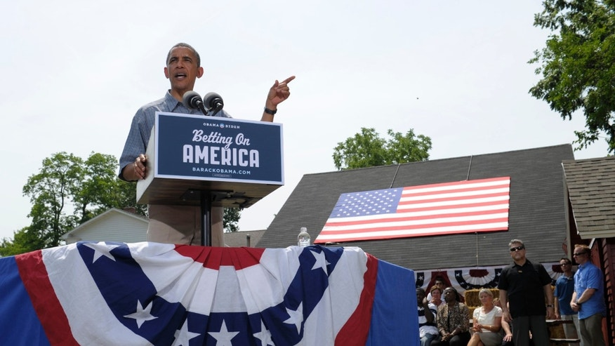 July 5: President Barack Obama speaks at the Wolcott House Museum Complex in Maumee, Ohio. Obama is on a two-day bus trip through Ohio and Pennsylvania.