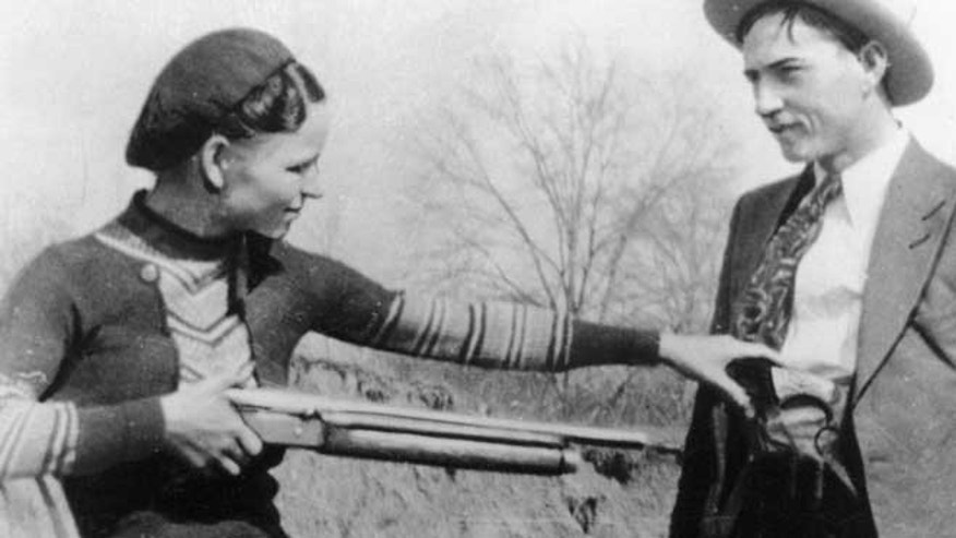 This undated file photo shows outlaws and lovers Bonnie Parker, left, and Clyde Barrow.
