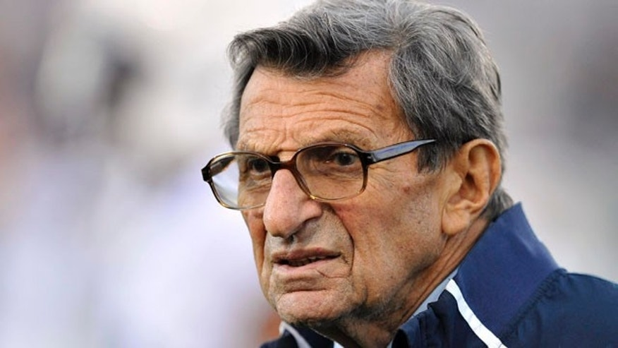 Oct. 22, 2011: Penn State coach Joe Paterno stands on the field before his team's NCAA college football game against Northwestern in Evanston, Ill.
