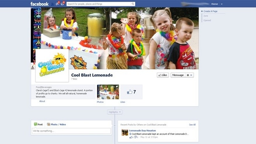 "The Sutton family of Cypress, Texas went so far as to create an advertising plan for their ""Cool Blast Lemonade"" stand with a website and  this Facebook page. In the center photo, Clara is flanked by sister Eliza and brother Eirik."