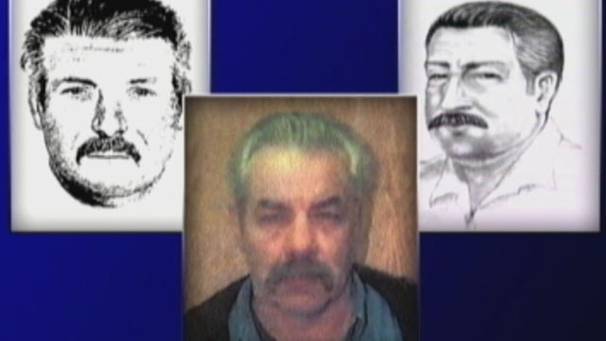 Rodney Stanger, center, is pictured in a photo on an old Massachusetts Firearms Identification Card. The photo bears a striking resemblance to the sketches, left and right, of a suspicious man seen near the pond where Bish worked as a lifeguard.