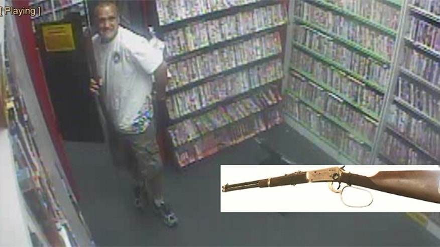 Store surveillance video is said to show the suspect who police say stole two prop guns from a Portland, Ore., store.
