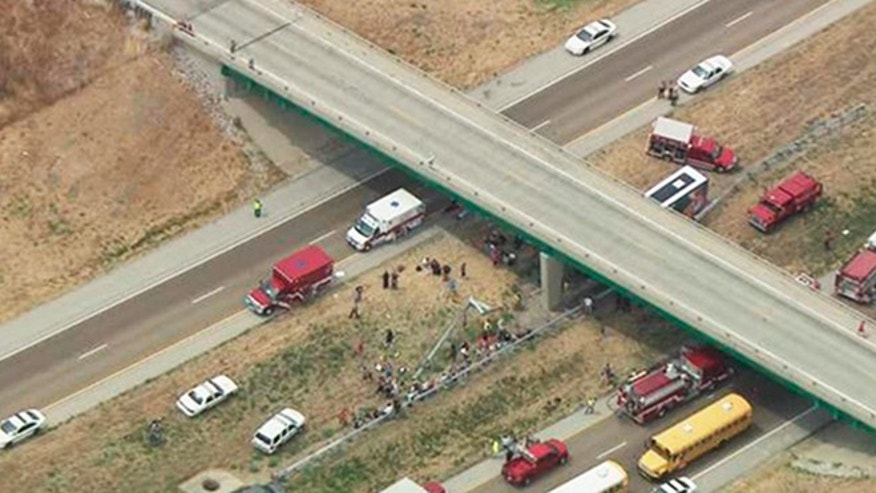 This photo from video provided by KSDK-TV NewsCenter5 in St. Louis, shows emergency vehicles at the scene near Litchfield, Ill., where a double-decker Megabus traveling from Chicago to Kansas City struck a concrete bridge pillar along Interstate 55 in southern Illinois.