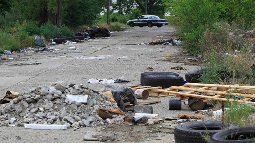July 31, 2012: A trashed strewn street is seen in east Detroit. Abandoned lots, alleys and neglected parks in Detroit used to be a favorite destination for discarded tires and trash.