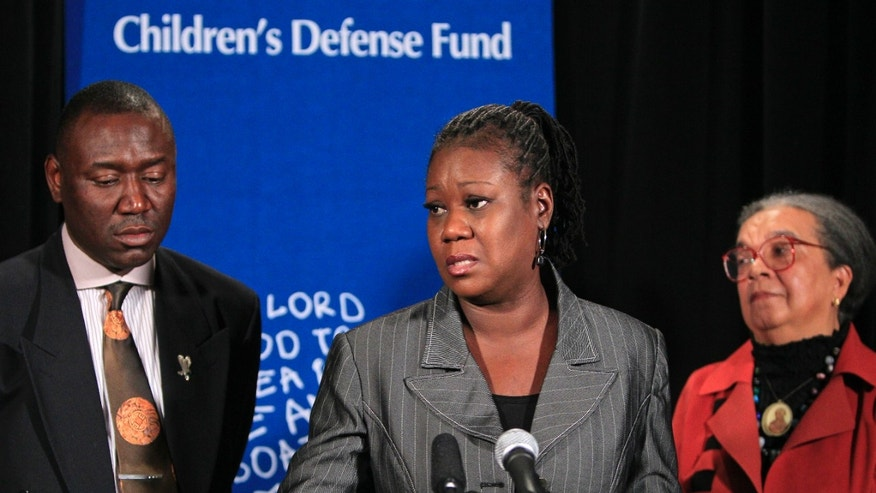 July 25, 2012 -  Sybrina Fulton (center) mother of Trayvon Martin,  speaking at a news conference.