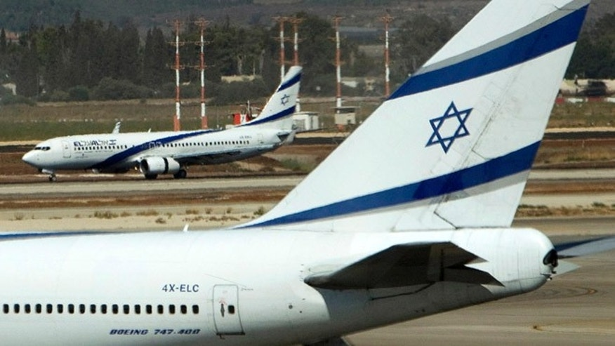 Aug 22, 2011: El Al airplanes are seen on the runway at Ben Gurion International airport near Tel Aviv.