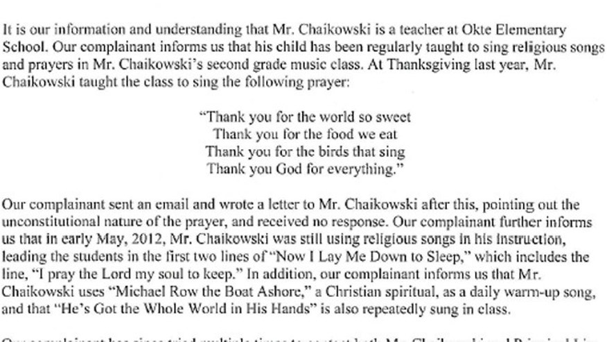 A segment of the first letter sent to the Shenendehowa Central Schools.