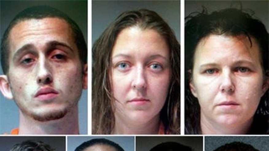 Authorities identified seven people arrested in the investigation of the shootings of four Louisiana sheriff's deputies. From top from left: Derrick Smith, Britney Keith, Chanel Skains; Bottom from left: Terry Smith, Teniecha Bright, Brian Smith, Kyle Joekel.