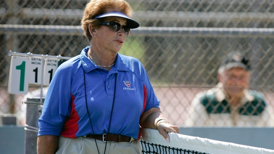 FILE 2008: Tennis referee Lois Goodman is shown while officiating a CIF tennis tournament.