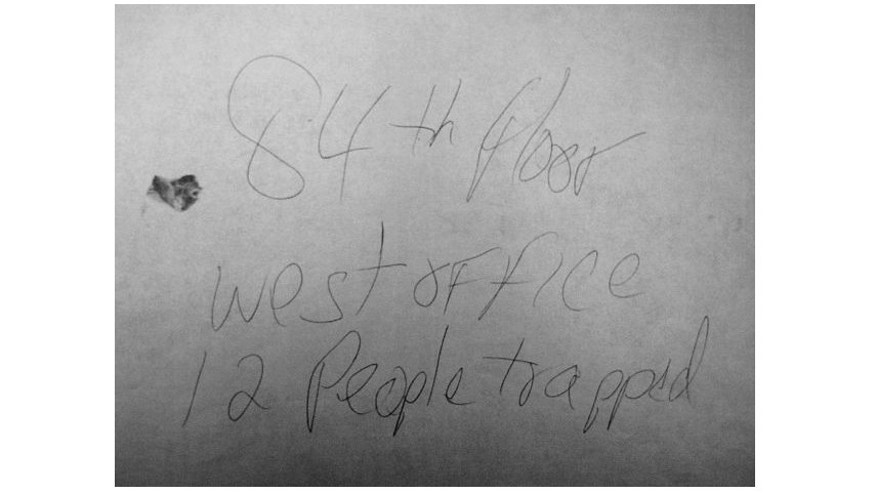 The Note that Randy Scott wrote while trapped in his office at the World Trade Center before it collapsed.