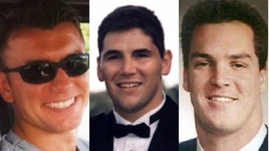 "Jay Marshall, of New Canaan, Conn., said he felt compelled to risk his own well-being to honor the ""incredible"" group of three young stock brokers he lost that day, from left: Sean Lugano, 28&#x3b; Mark Ludvigsen, 32&#x3b; and Brent Woodall, 31."