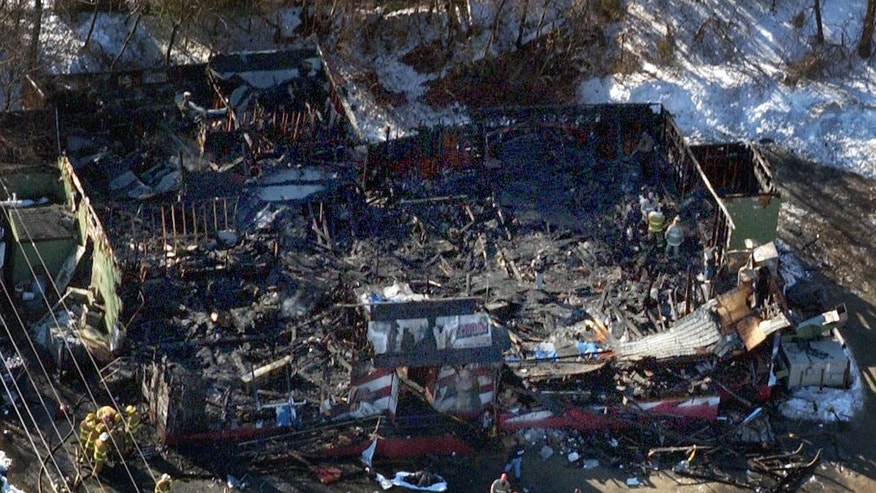 Feb. 21, 2003: The burned out remains of the Station nightclub in West Warwick, R.I. is seen in a file aerial photo.