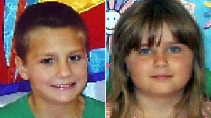 This photo shows 7-year-old Gage Daniel, left, and his half-sister Chloie Leverette, right.