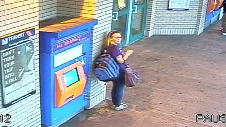 Sept. 30:  image from surveillance video shows Kara Alongi at the Rahway, N.J. train station.