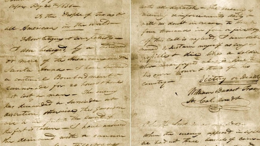 "This undated image provided by the Texas State Library and Archives Commission shows a portion of the ""victory or death"" letter written by William Barret Travis from the Alamo on Feb. 24, 1836."
