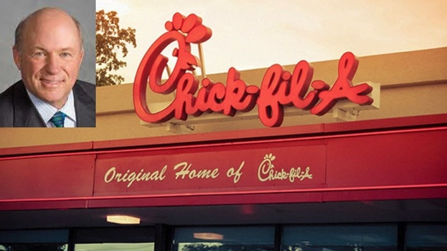 "Chick-fil-A president Dan Cathy says he is ""guilty as charged"" for supporting the traditional definition of marriage, and now Chicago Mayor Rahm Emanuel says its ""values aren't reflective of our city."" (AP)"