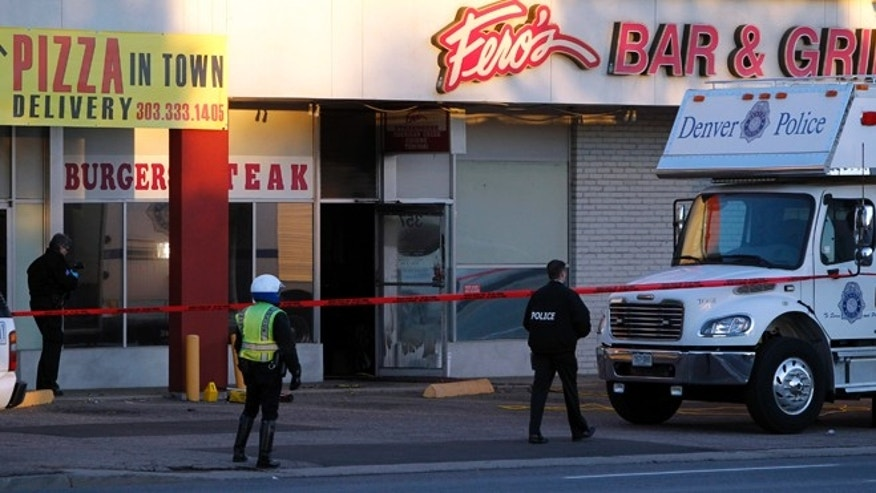 Oct. 17: Police investigate at Fero's Bar and Grill in Denver.