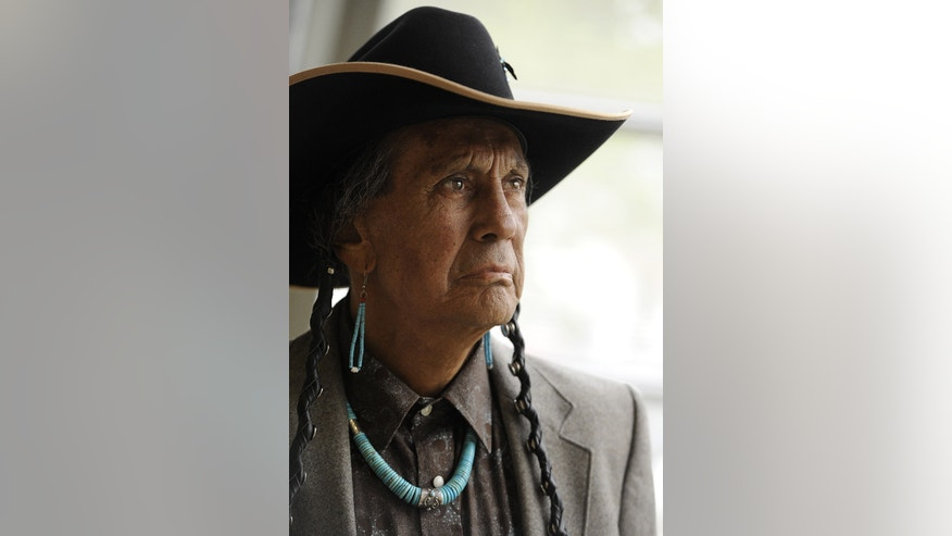 April 27, 2012 FILE photo - Russell Means, former leader of the American Indian Movement at Augustana College in Sioux Falls, S.D.