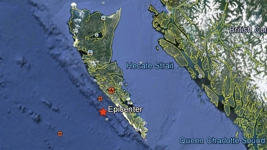Oct. 28, 2012: This map shows where a 7.7 earthquake struck a Canadian island.