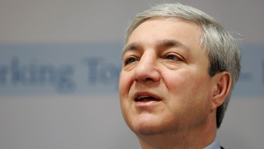 March 7, 2007: In this file photo, Penn State University president Graham Spanier speaks during a news conference at the Penn State Milton S. Hershey Medical Center in Hershey, Pa.