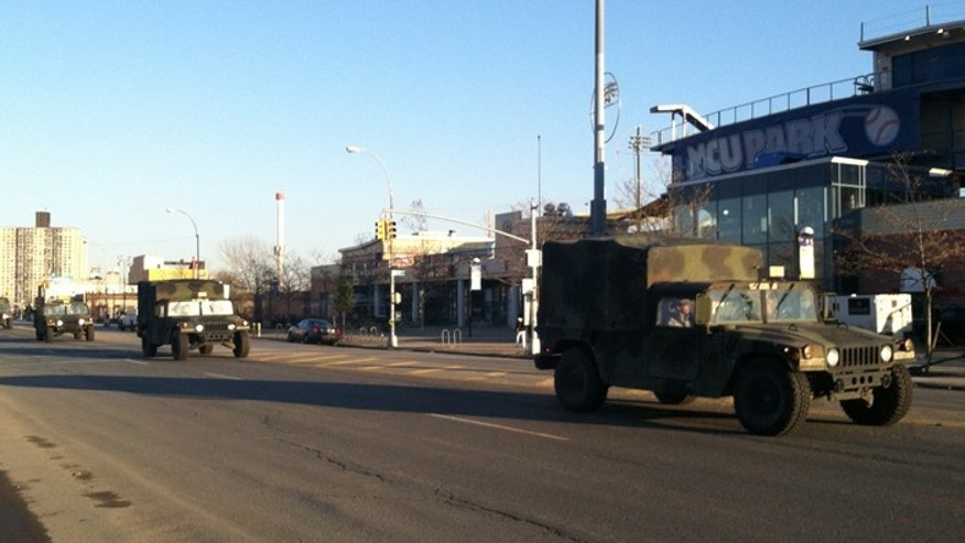 The National Guard rumbles up Surf Avenue in New York's Coney Island. (FoxNews.com/Perry Chiaramonte)