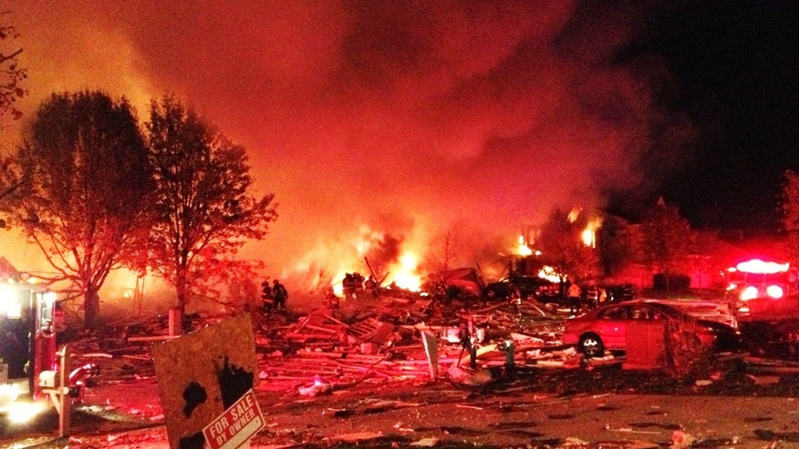 Nov. 11, 2012: Authorities say a loud explosion has leveled a home in Indianapolis and set four others ablaze in a neighborhood.