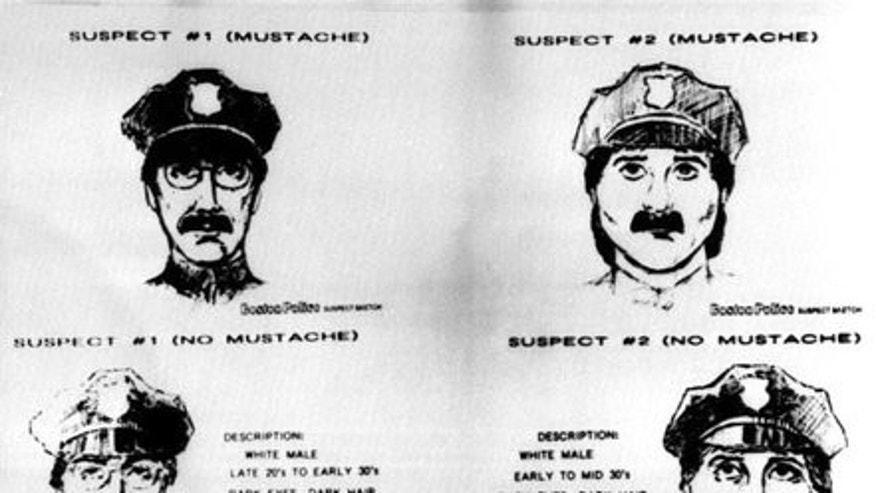 These sketches, released by the FBI, show the two male suspects who authorities say stole an estimated $580 in famous paintings from Boston's Isabella Stewart Gardner Museum on March 18, 1990. One was said to be wearing a fake mustache during the heist.